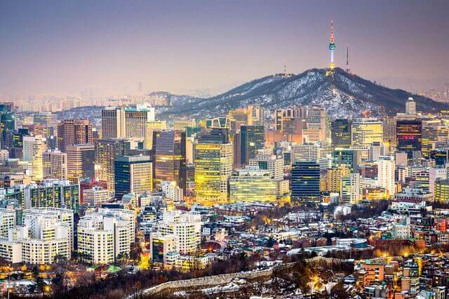 冬のソウル市内の風景